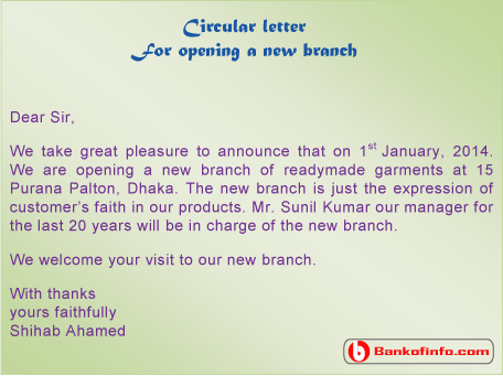 Circular Letter Sample For Opening A New Branch  Announcement Letter Sample Format