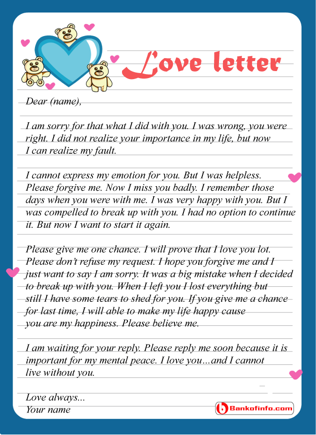 Some Sample Apology Love Letter to Him Her