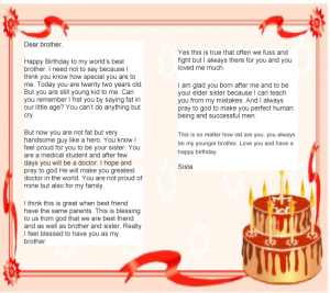 birthday letter to brother from sister