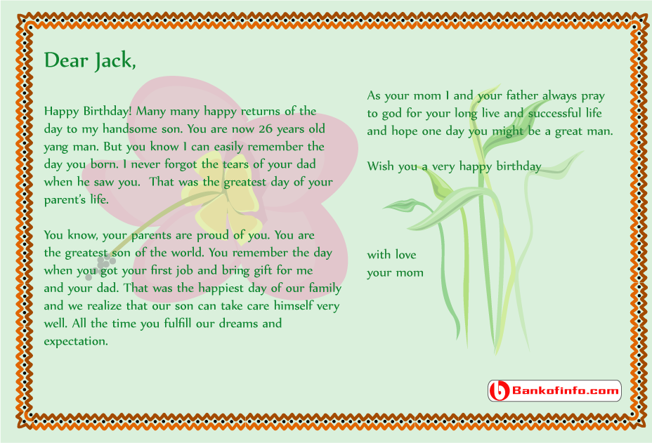 Birthday letter to my son from mom