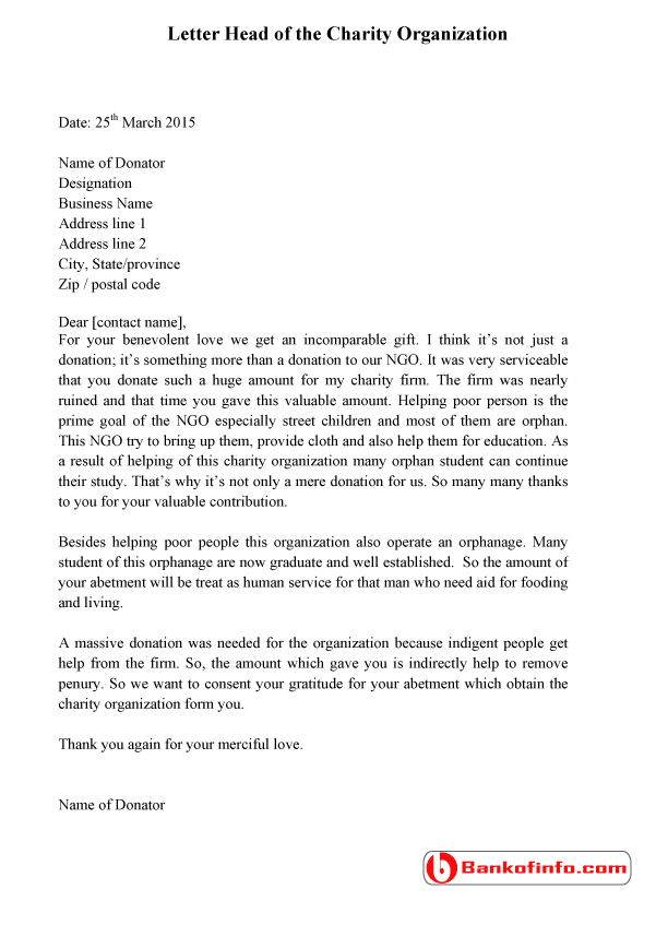 Sample of thank you letter for donation – Thank You Letter for Donations