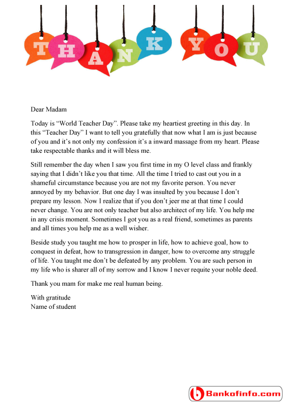 Sample thank you letter to teacher from student thank you letter to teacher expocarfo