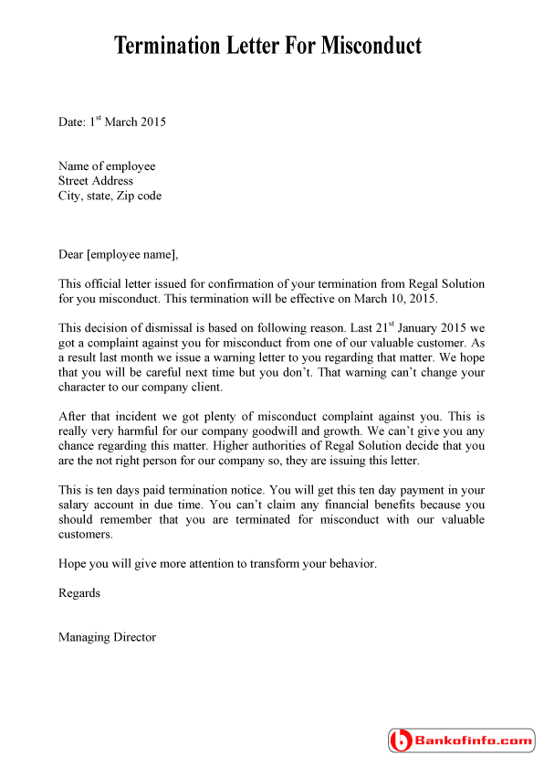 Dismissal Termination Letter for Misconduct – Termination Letters