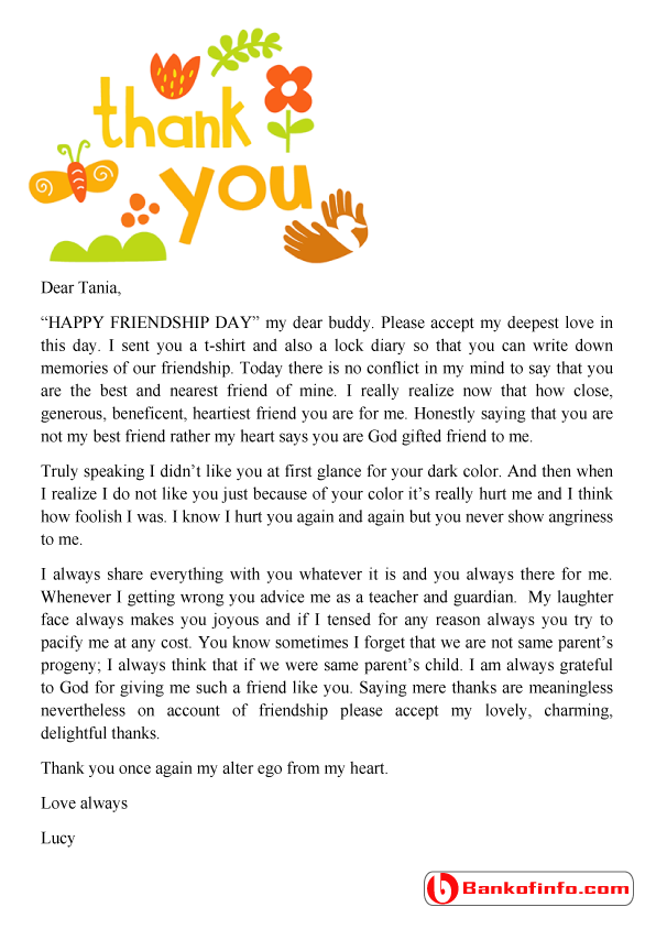 Thank You Letter For A Friend Sample