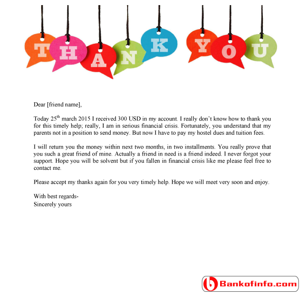 Bank Of Info  Thank You Letter Sample