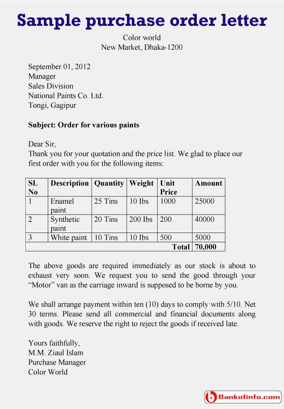 Sample Purchase Order Letter For Paints  Purchase Inquiry Letter
